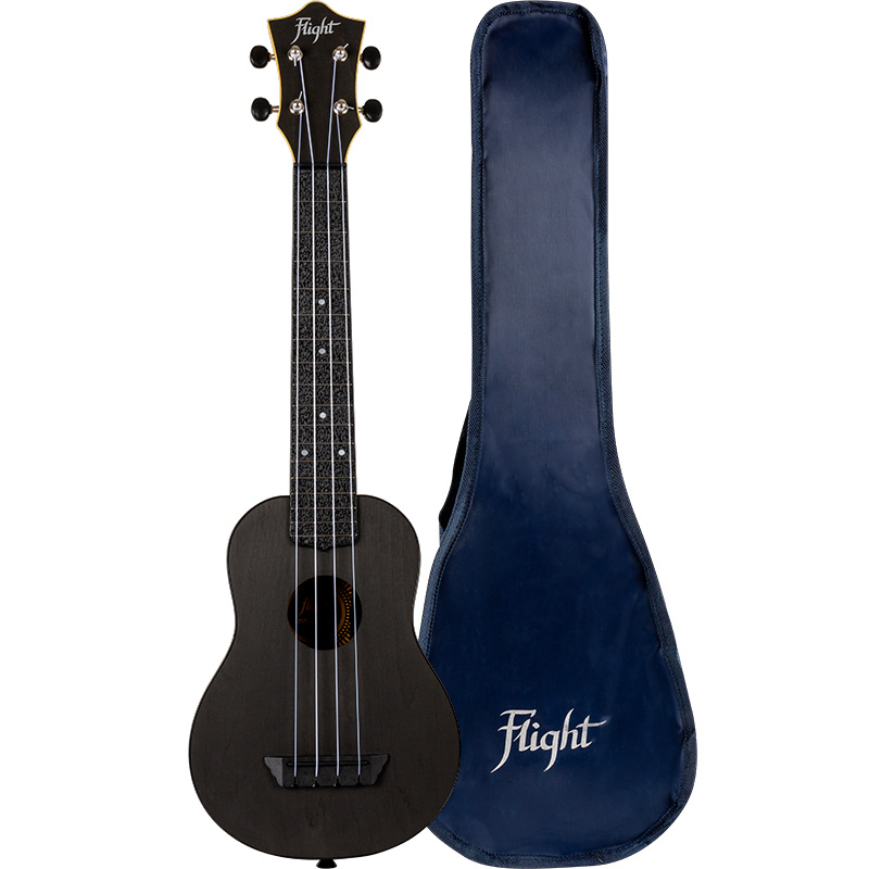 Flight TUSL35 Black Travel Concert Scale Soprano Ukulele