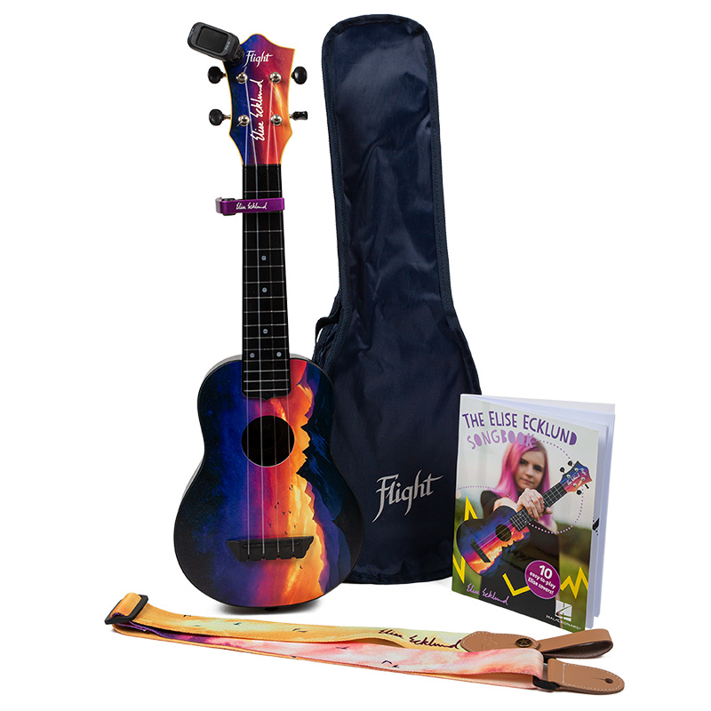 Flight TUS-EE SUNSET PACK Elise Ecklund Signature Travel Soprano Ukulele Bundle